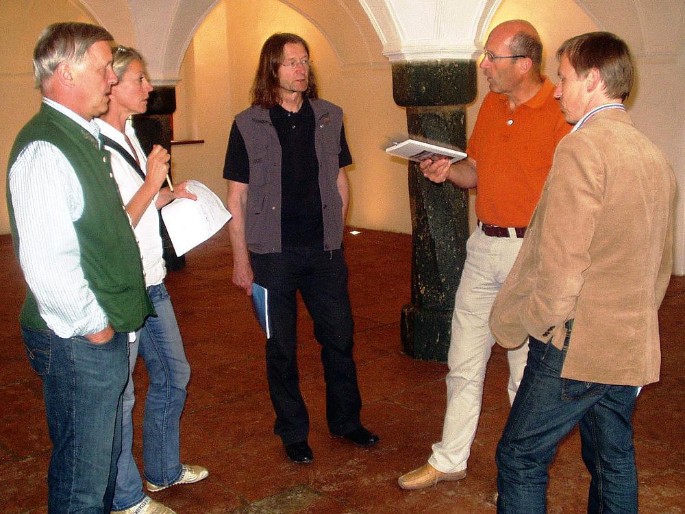 Hans Weitgasser, Elisabeth Schneider, Michael Habersatter, Josef Schneider, Thomas Oberreiter, 2007, Projektbesprechung Hofhaimer Tage im Schloß Höch, Flachau