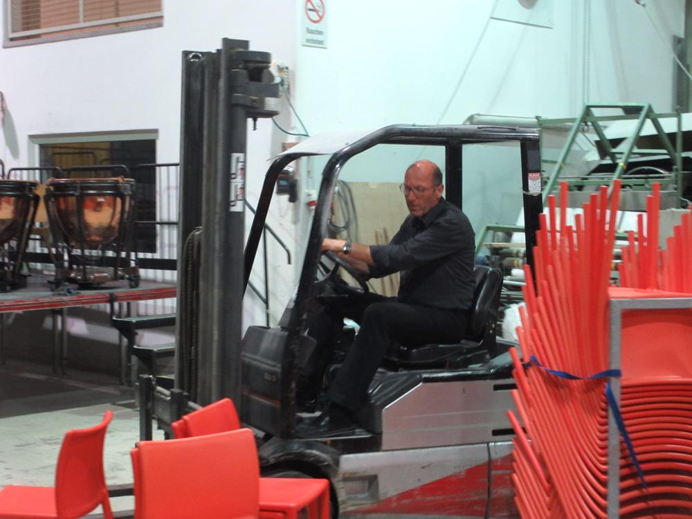 Josef Schneider, 2015, Paul Hofhaimer Tage, Aufbau in der Produktionshalle Fa. k-tec Radstadt