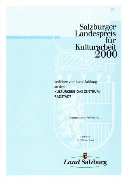 Landespreis für Kulturarbeit 2000